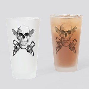 Skull and Chainsaws Drinking Glass