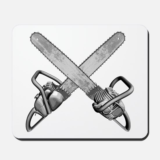 Crossed Chainsaws Mousepad