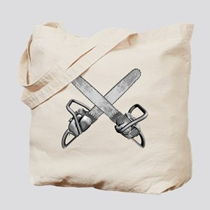 Crossed Chainsaws Tote Bag