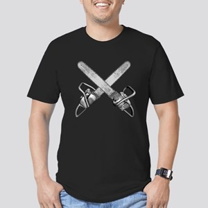 Crossed Chainsaws Men's Fitted T-Shirt (dark)