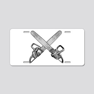 Crossed Chainsaws Aluminum License Plate
