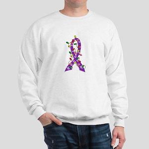 Christmas Lights Ribbon Alzheimers Sweatshirt