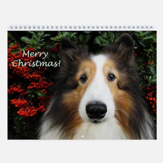 Merry Christmas Sheltie Wall Calendar
