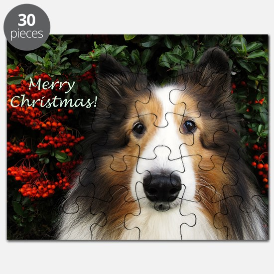 Merry Christmas Sheltie Puzzle