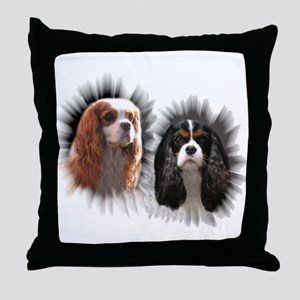 Tricolor Blenheim Cavalier Starburst Throw Pillow