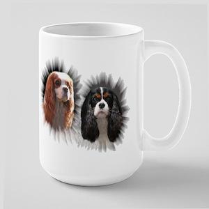 Tricolor Blenheim Cavalier Starburst Large Mug