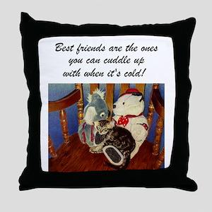 Best Friends Kitten Throw Pillow