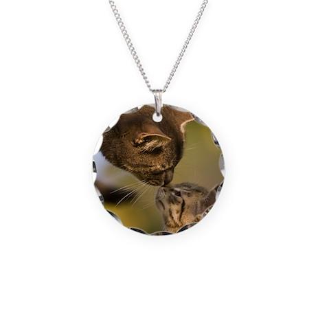 Kitten kiss Necklace Circle Charm