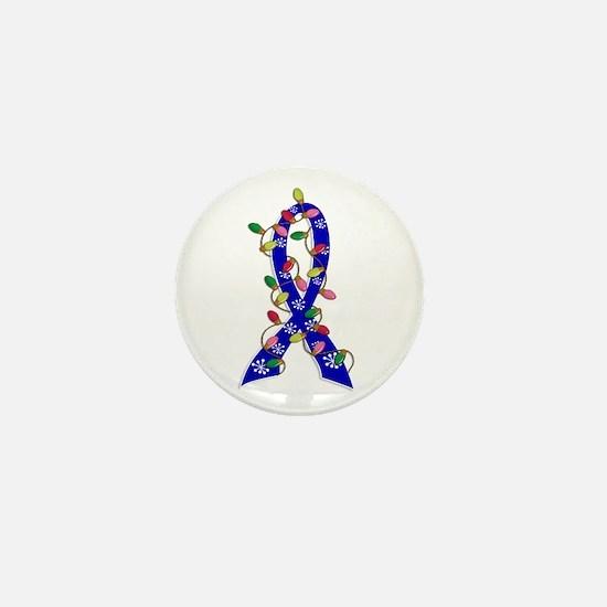 Christmas Lights Ribbon Anal Cancer Mini Button