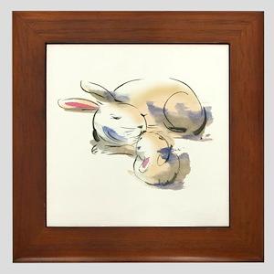 Rabbits Framed Tile
