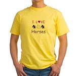 I Love Horses Yellow T-Shirt