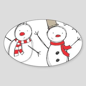 Snowmen Sticker (Oval)