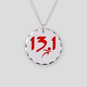 Red 13.1 half-marathon Necklace Circle Charm