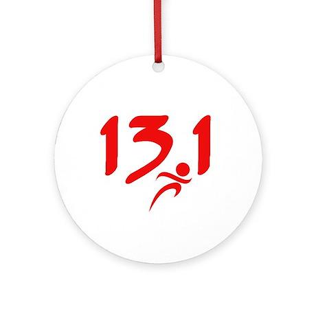 Red 13.1 half-marathon Ornament (Round)