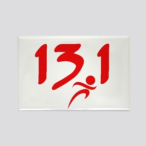 Red 13.1 half-marathon Rectangle Magnet