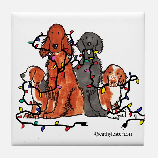 Dog Christmas Party Tile Coaster