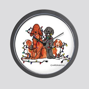 Dog Christmas Party Wall Clock