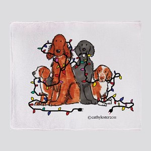 Dog Christmas Party Throw Blanket