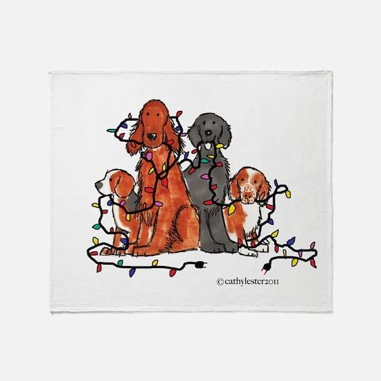 Dog Christmas Party Throw Blanket