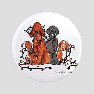 """Dog Christmas Party 3.5"""" Button"""