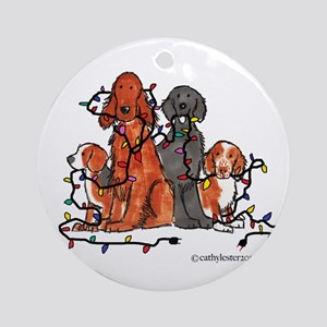 Dog Christmas Party Ornament (Round)