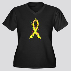 Christmas Lights Ribbon Bladder Cancer Women's Plu