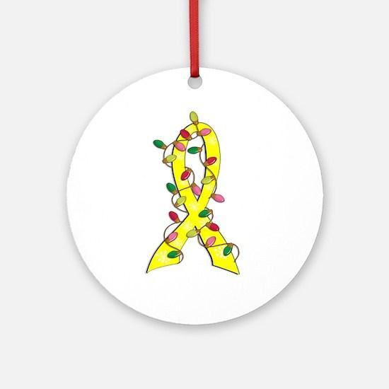Christmas Lights Ribbon Bladder Cancer Ornament (R