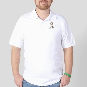 Christmas Lights Ribbon Bone Cancer Golf Shirt