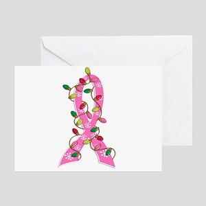 Christmas Lights Ribbon Breast Cancer Greeting Car