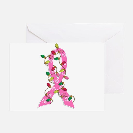 Christmas Lights Ribbon Breast Cancer Greeting Car