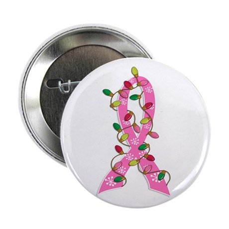 """Christmas Lights Ribbon Breast Cancer 2.25"""" Button"""
