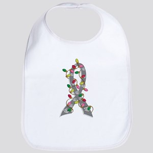 Christmas Lights Ribbon Brain Cancer Bib