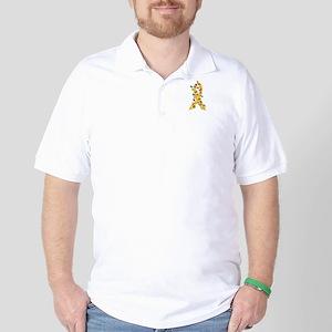 Christmas Lights Ribbon Childhood Cancer Golf Shir