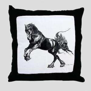 Keegan, Friesian Stallion Throw Pillow