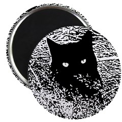 Black Cat in the Grass Magnet