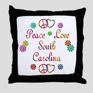 Peace Love South Carolina Throw Pillow