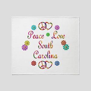 Peace Love South Carolina Throw Blanket
