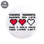 """Video Games Ruined My Life 3.5"""" Button (10 pa"""