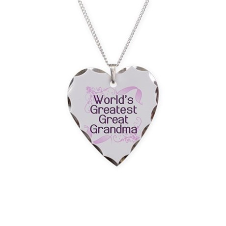 World's Greatest Great Grandma Necklace Heart Char