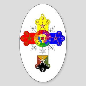 Rose Cross Sticker (Oval)
