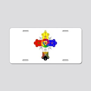Rose Cross Aluminum License Plate