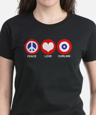 Peace Love Curling Women's Dark T-Shirt