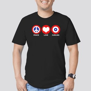 Peace Love Curling Men's Fitted T-Shirt (dark)