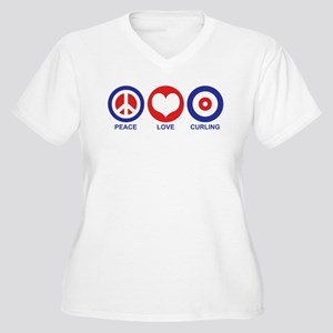 Peace Love Curling Women's Plus Size V-Neck T-Shir