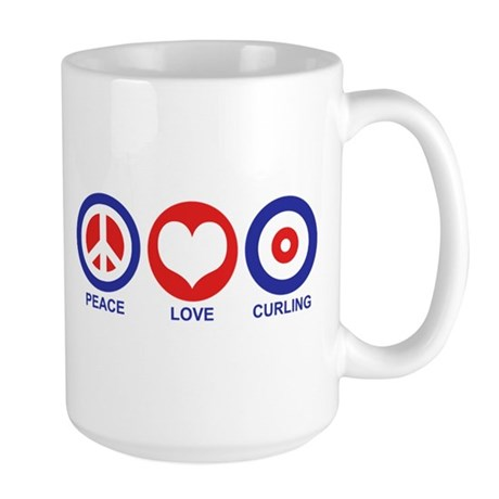 Peace Love Curling Large Mug