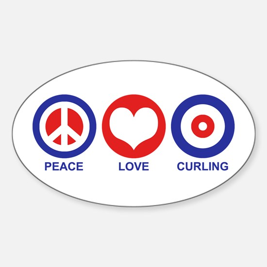 Peace Love Curling Sticker (Oval)