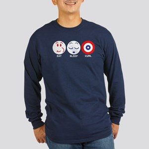 Eat Sleep Curl Long Sleeve Dark T-Shirt