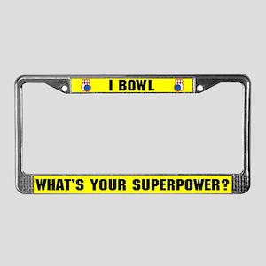 Bowling Superhero License Plate Frame