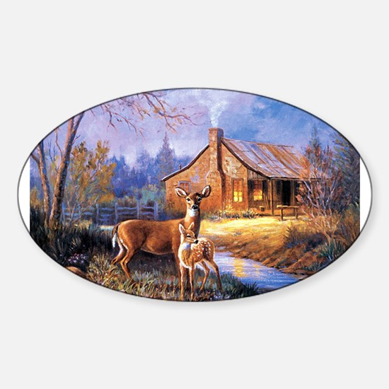 Cute Deer Sticker (Oval)