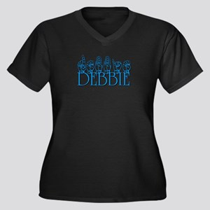 Debbie-blu Women's Plus Size V-Neck Dark T-Shirt